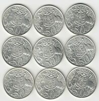 1966 (80% SILVER) AUSTRALIA ROUND FIFTY 50 CENT COINS X 9 - NINE GREAT COINS