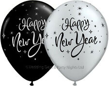 "10 Black/Silver Happy New Year Helium/Air Balloons Party Decoration 11"" Qualatex"
