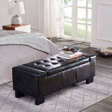 "Elegant Living Room Furniture Black Faux Leather Large Storage Ottoman Bench 50"""