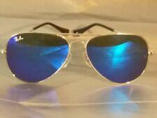 Ray Ban RB3026 Aviator Unisex Sunglasses 62MM Silver Frame/ Blue Mirror Lens