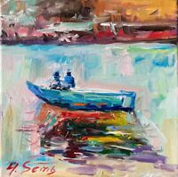 Fishing Boat Landscape Oil Painting Impressionism Texture Modern Collectable