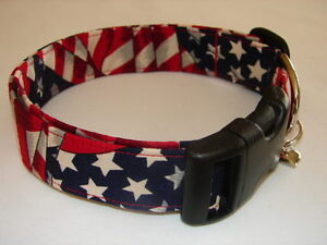 Charming 4th of July Patriotic Wavy American Flag Dog Collar