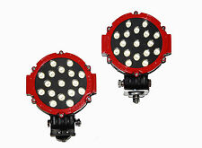 "2x RED 51w Round LED light 7"" spot Work off road fog driving roof bar bumper 4x4"