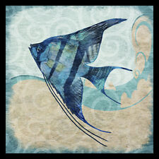 FRAMED Ocean Angel Fish 12x12 Colorful Art Print Painting by Jill Meyer