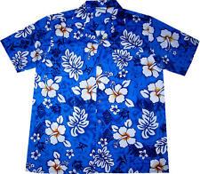 Camicia Hawaiana / 100% cotone / S - 6XL / Hawaiiana Hawaii Hawai uomo fiori blu