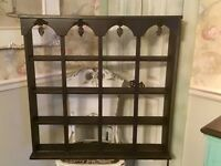 Large Shabby Farmhouse Wood Knick Knack Display Shelf / Curio Roses Leaf Design