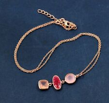 925 Sterling Silver Jewelry Ruby Rose Quart Gemstone Rose Gold Plated Necklace
