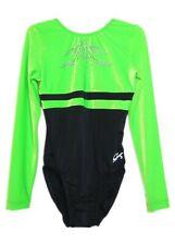 Gk Elite Jeweled Black/Green Velvet Gymnastics Leotard - Am Adult Medium 4229