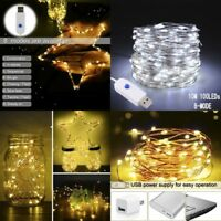 50/100LED USB String Copper Wire Fairy Lights Xmas Party Fairy Decor Lamp 8Modes