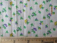 Vintage Floral Cotton Feedsack Gauze Fabric 147 x 42 Small Purple Yellow Flowers