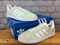 ADIDAS MENS UK 9 EU 43 1/3 ICE MINT LIGHT GREEN GAZELLE SUEDE TRAINERS        EP