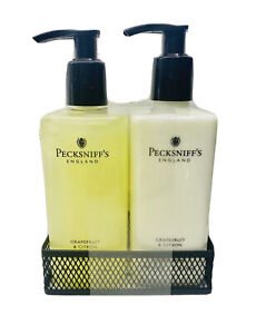 Pecksniff's Grapefruit and Citron Hand Wash+ Body Lotion Caddy Set 10.1oz New
