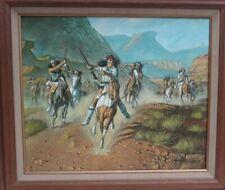 "Southwestern Native American Indians On Horseback Original Oil Painting 24 x 20"""