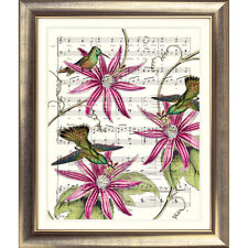 Art print original vintage music sheet page Flower Garden Bird Photo Rose Mur
