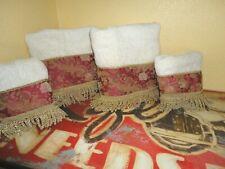 CROSCILL RED TAN FLORAL DAMASK FLORAL DECORATIVE FRINGED (4PC) TOWEL SET