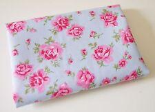 100% tissu de coton matériau fq fat quarter chou roses sur bleu style vintage