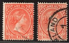 FALKLAND ISLANDS 1891/1902 STAMP Sc. # 17/17a USED