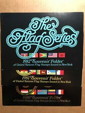 1980, 1981, 1982 UNITED NATIONS FLAG SOUVENIR FOLDERS WITH STAMPS