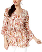 Style&co. New 0X Pink Boho Floral Tunic Blouse Lace Trim Peasant Top $59 NWT