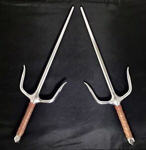 Vintage Stamped Century Sai Daggers Real Martial Arts Set Solid Steel & Leather
