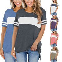 Women Casual Striped T Shirt Ladies O-Neck Short Sleeve Loose Blouse Tops Shirts