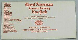 Great American Insurance Company Ink Blotter New York Chicago Bettsville Ohio