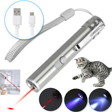 Usb Rechargeable Laser Pointer ~ 3 in 1 Cat Pet Toy Red Uv Flashlight