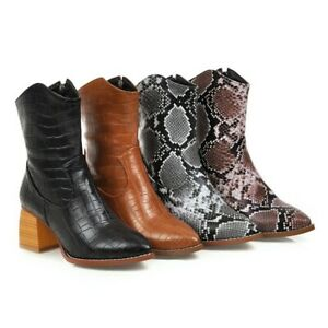 Ladies High Top Snake Pattern Zip Up Mid Cald Chunky Boots Retro Punk Mid Heels