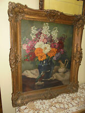 Antique Impressionist Still Life Floral Oil Painting Gesso Frame And Bird