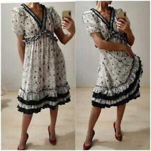 AUTH Dolce&Gabbana floral printed white silk chiffon ruffle dress 42