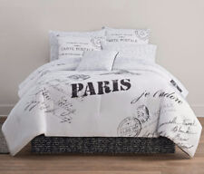 Paris Eiffel Tower Reversible Twin Comforter Set J (6 Piece Bed In A Bag)