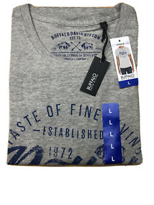 Buffalo David Bitton Mens Gray Graphic Tee T-Shirt Crew LARGE NWT