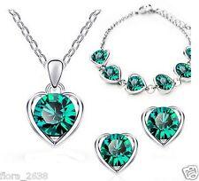 3 couleurs au choix, PARURE PLAQUE OR & cristal rose, vert, violet, coeur