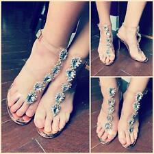 Onlymaker Womens Rhinestones Ankle Strap Sandals Stiletto Clear High Heel US5-15