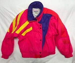 VTG 90s Bright Neon Pink Obermeyer Purple Ski Jacket Womens Size 10 Meltdown