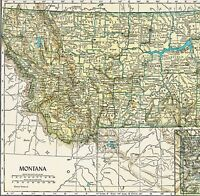 1910 Montana Map Yellowstone Helena Missoula Butte Custer Kalispell ORIGINAL