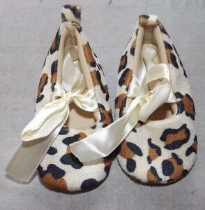 NEW BABY GIRL 6+ MONTHS LEOPARD PATTERN PRAM SHOES SLIPPERS WITH BOW RIBBONS