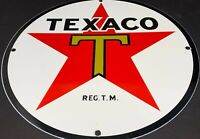 "VINTAGE TEXACO GASOLINE 12"" PORCELAIN METAL ADVERTISING SIGN GAS STATION OIL"