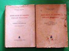 Istituzioni di diritto penale italiano - V. Manzini - Ed. Cedam 1941 - 2 Voll.