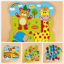 Wooden Animal Numbers Puzzles Jigsaw Toddlers Early Learning Educational Toys HZ