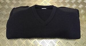 Genuine British MOD Military Navy V-Neck Jumper/Sweater 80% Wool. All Sizes. NEW