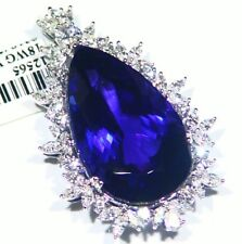 52.67CT 18K Gold Natural Tanzanite White Diamond Vintage AAA Engagement Necklace