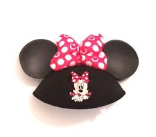 Disney Parks Minnie Mouse Bow Ears Hat Cap Red White Polka Dot Hearts New NWT