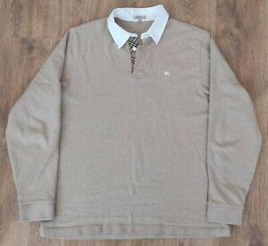 Burberry RARE mens beige nova check button neck rugby polo shirt size XL