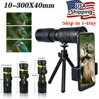4K 10-300X40mm Super Telephoto Zoom Portable Monocular Telescope Tripod + Clip