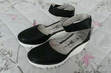 Fly London Yand Black White Wedge Heel Leather Shoes sandals Size 4