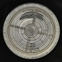 """Large 14"""" Clear Depression Glass Queen Mary Sectioned Platter Anchor Hocking"""