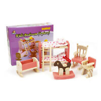 Wooden House Bedroom Furniture Dolls Kids Miniature Room Children Play House Toy