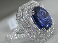 MODERN DIAMOND SAPPHIRE 18K W GOLD OPEN EMERALD CUT HALO COCKTAIL RING MBRSP349W