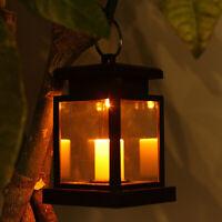 Ee _ Solar sin Llama LED Vela Luz Jardín Exterior Farol Colgante Lámpara Decor E